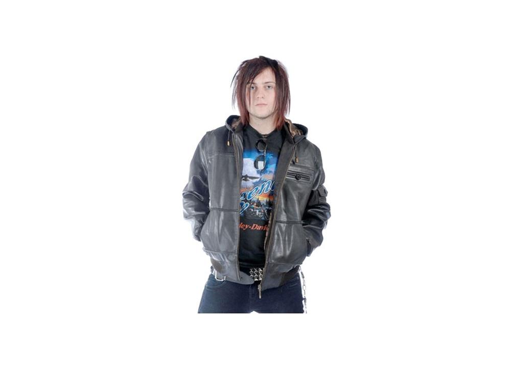 Hooded Leather Jacket  Size XXL