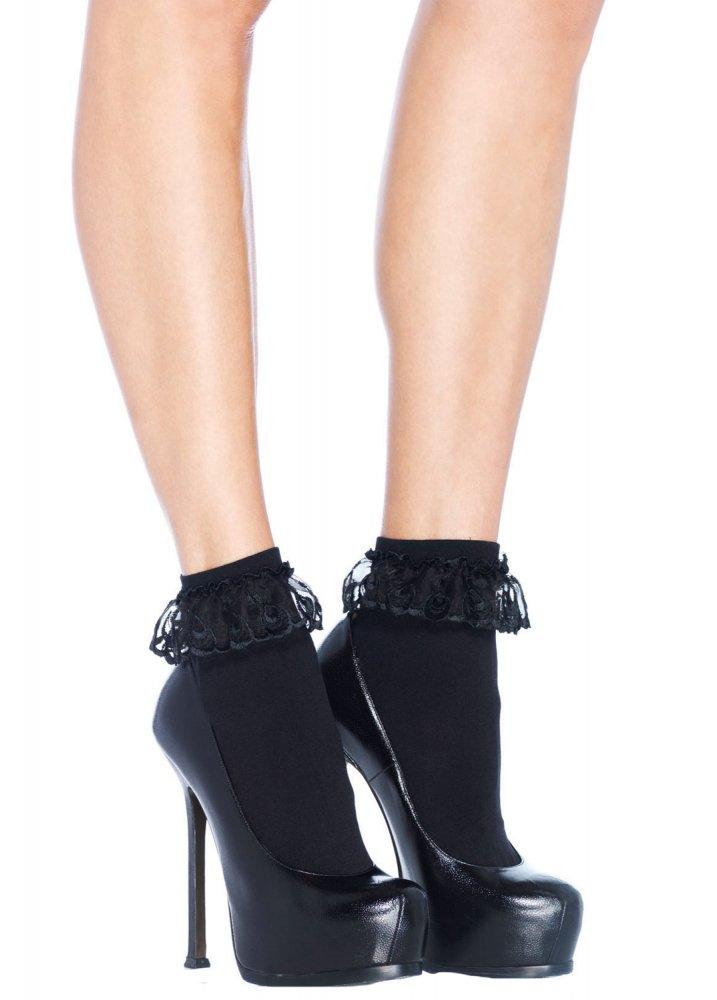Ruffled Ankle Socks Black  Size One Size