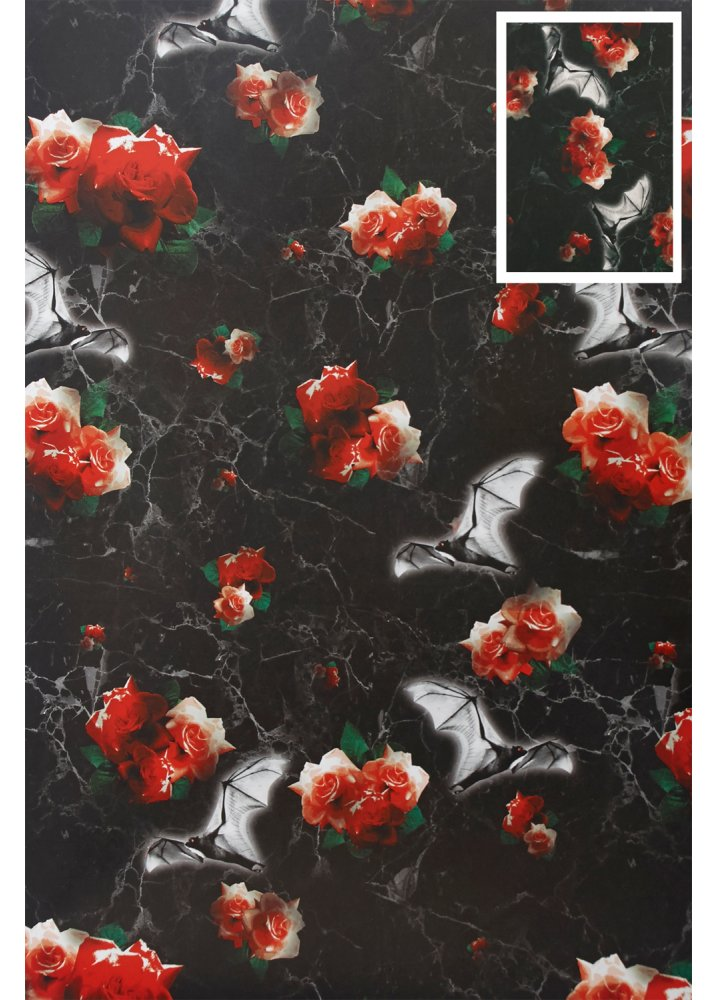 Image of Bat Rose Wrapping Paper & Tag