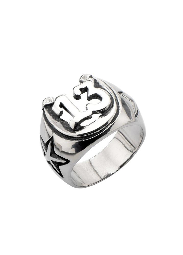 Oxidized Lucky 13 Horseshoe Ring  Size Ring Size W