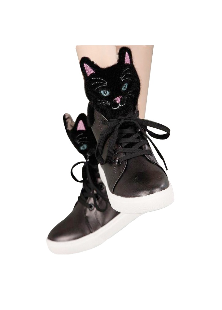 Black Kitty High Top Sneakers  Size UK 5