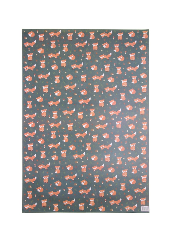 Image of Cute Fox Wrapping Paper & Tag