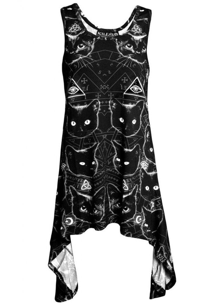 Black Cats Racerback Dress - Size: L