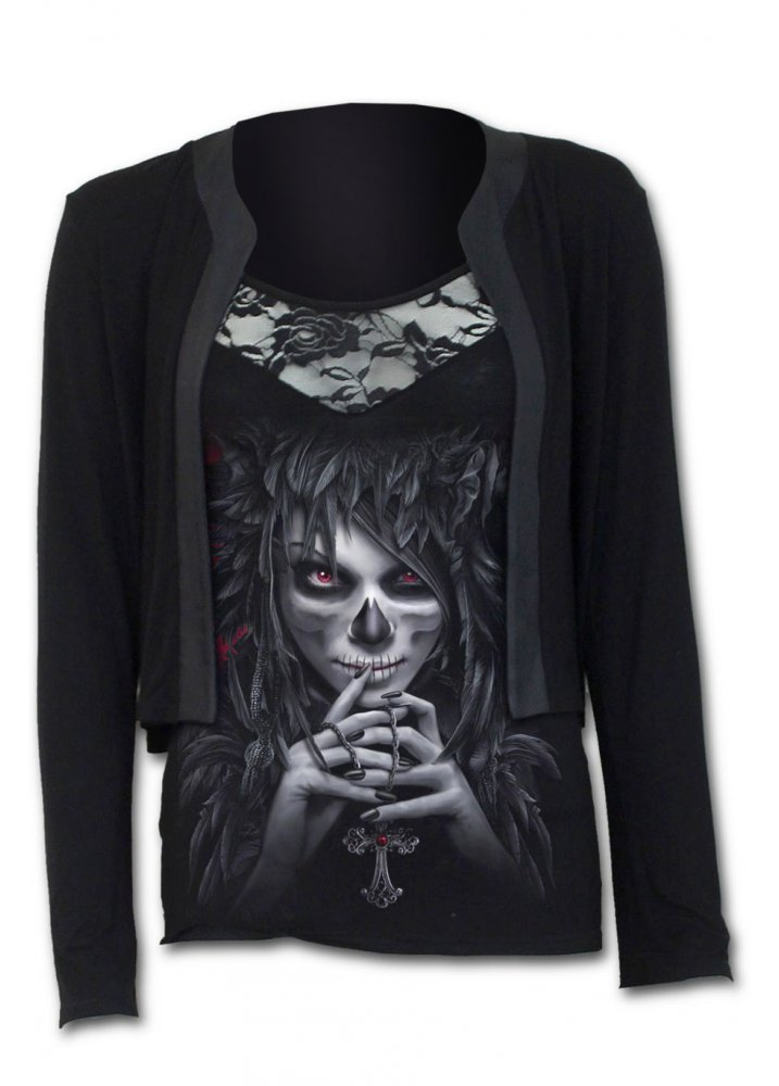 Day Of The Goth 2 In 1 Lace Vest Cardigan - Size: M