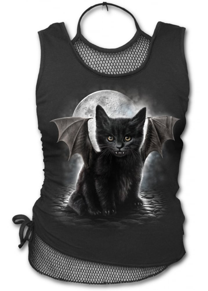 Bat Cat 2 In 1 Neck Tie Mesh Top - Size: L