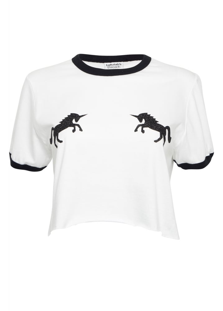 Black Glitter Unicorn Top - Size: L