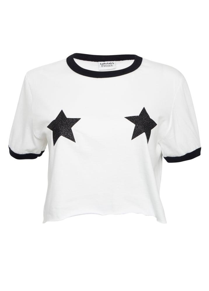 Black Glitter Star Top - Size: L