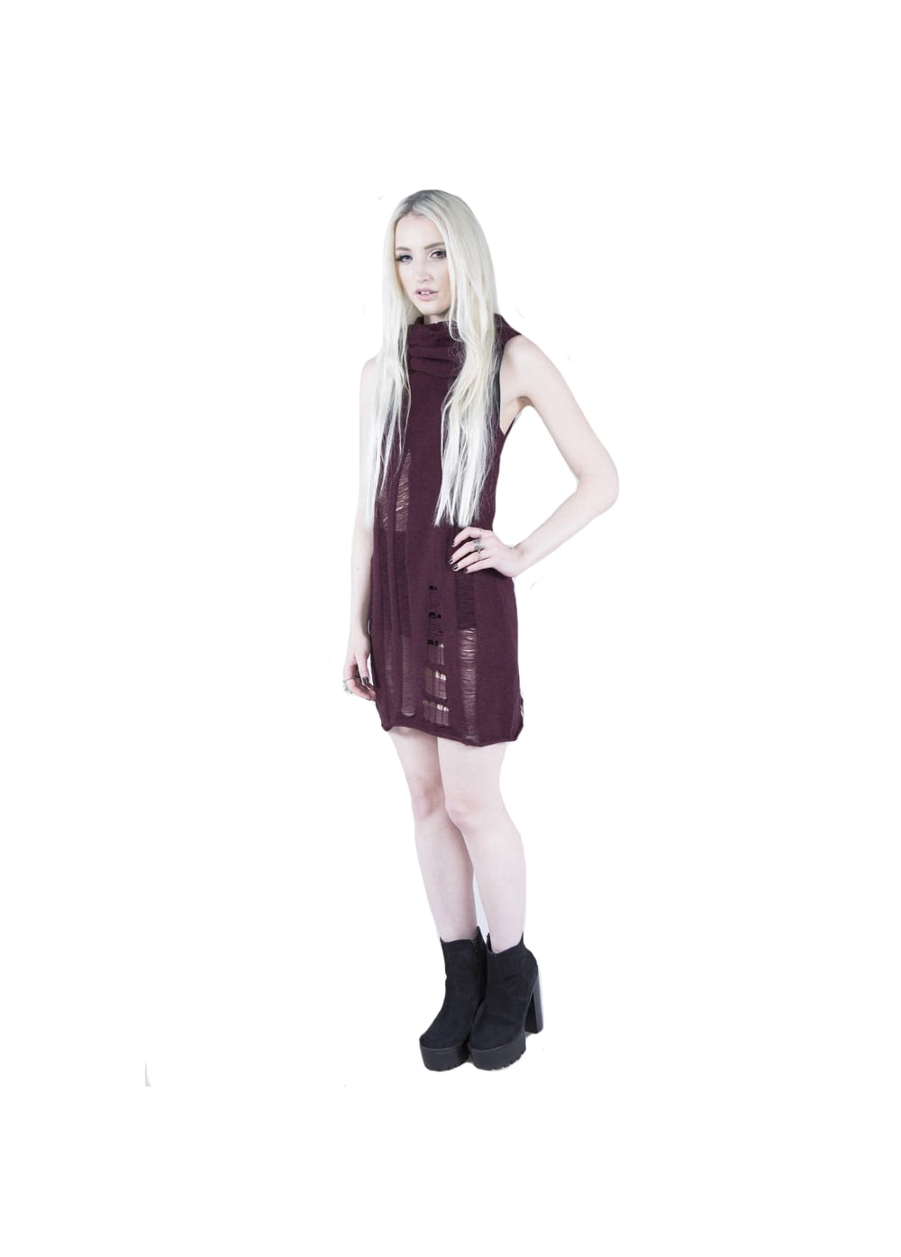 Burgundy Propaganda Sleeveless Dress - Size: L