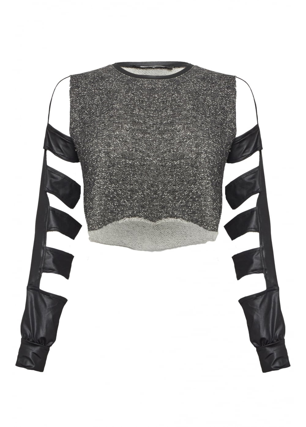 Cut Out Faux Leather Long Sleeve Top - Size: L