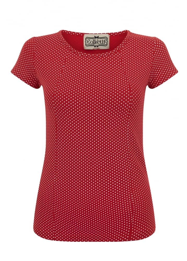 Alice Mini Polka Dot T-Shirt Red - Size: Size 10