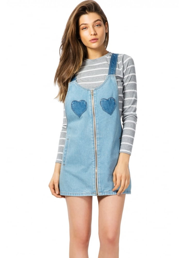 Denim Hearts Pinafore Dress - Size: S