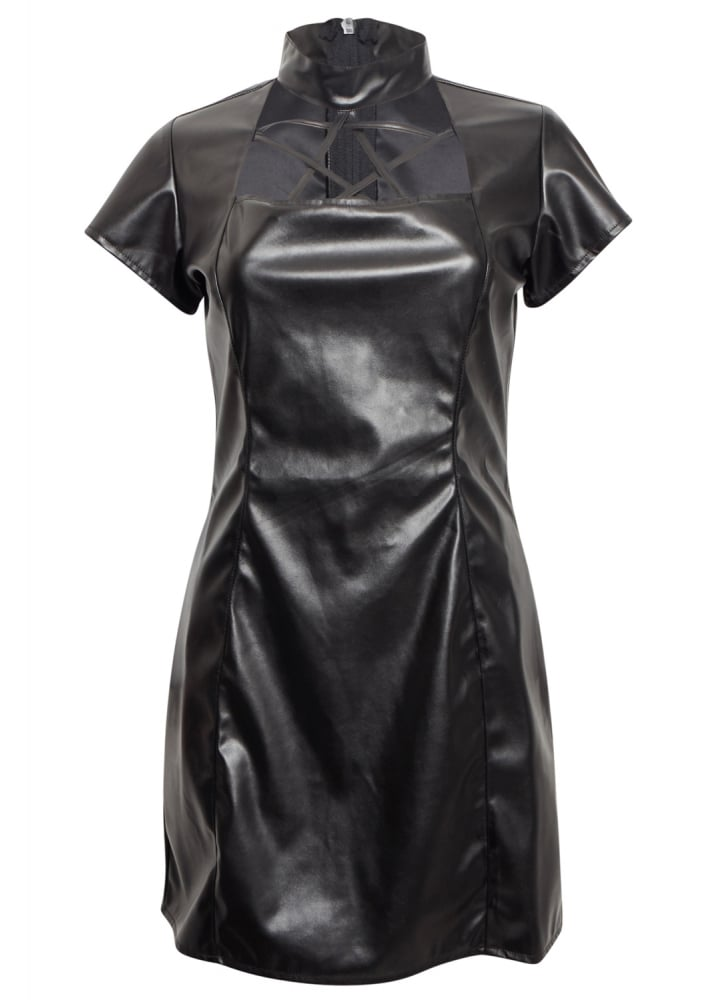 Leather Look Pentagram Dress - Size: Size 10