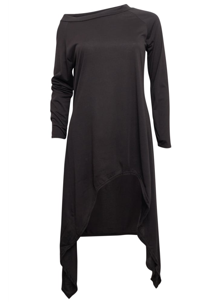 Black Asymmetrical Extra Length Top - Size: M