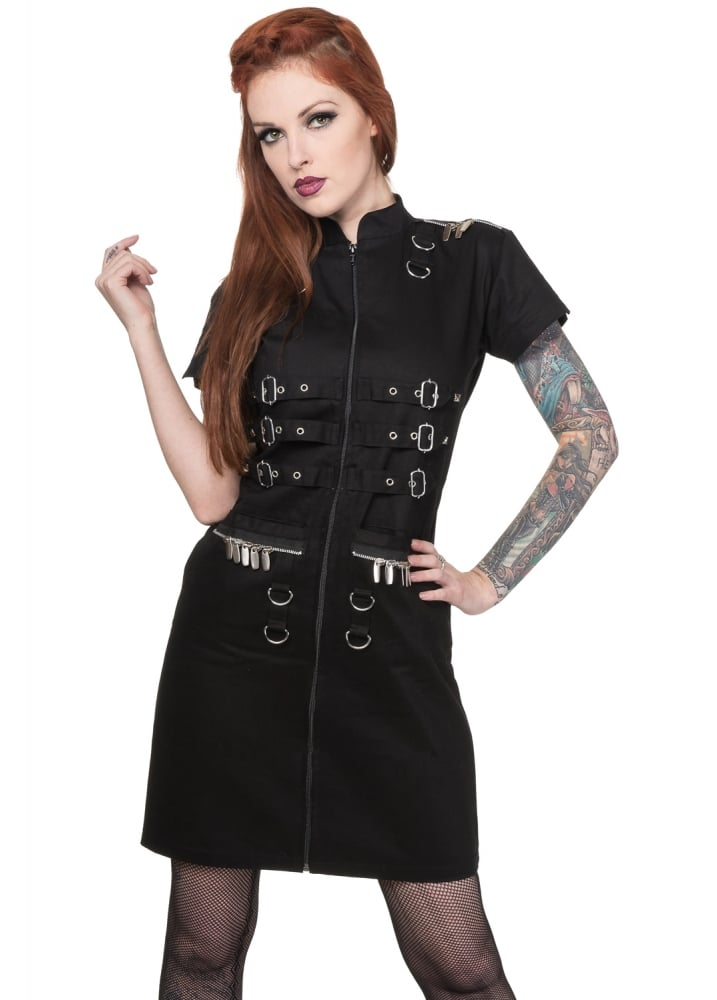 Buckle Biker Shirt Dress - Size: L