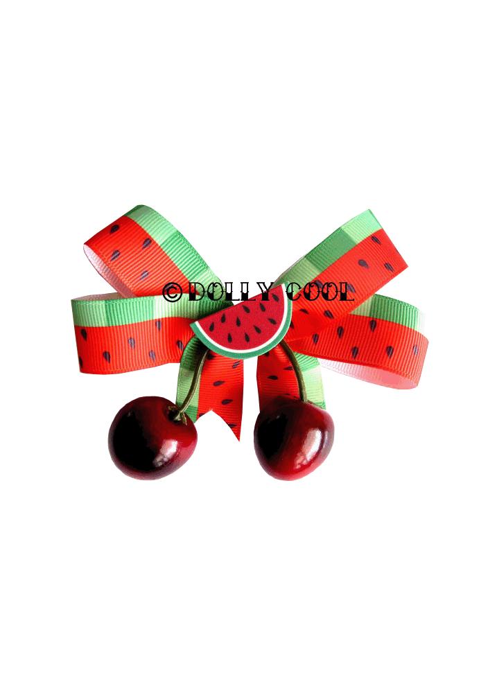 Watermelon & Cherry Bow Hair Clip - Colour: Red