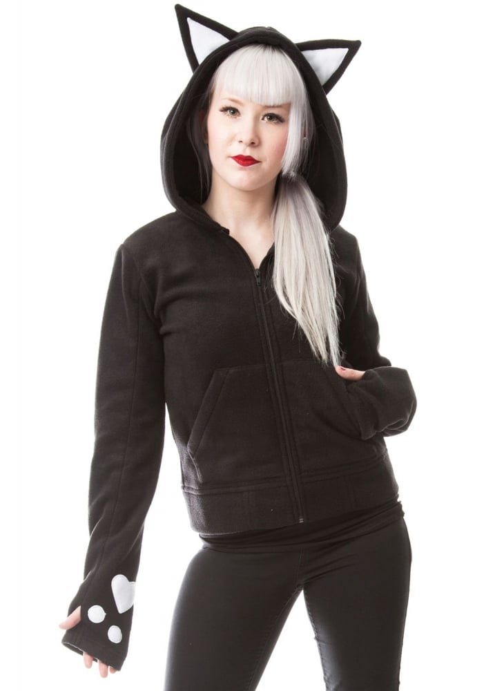 Dark Kitty Hood - Size: S