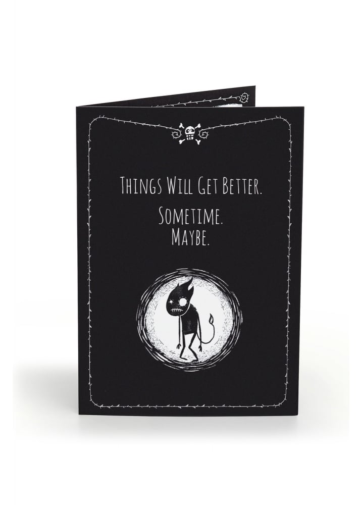 Things Will Get Better Anti-Greeting Card - Colour: Black