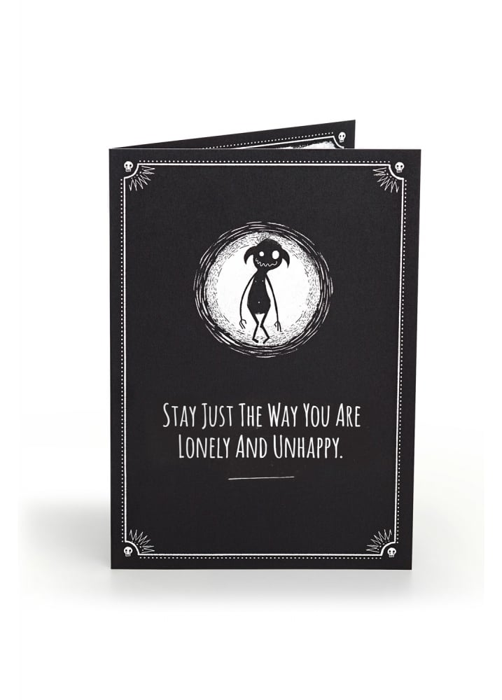 Lonely & Unhappy Anti-Greeting Card - Colour: Black