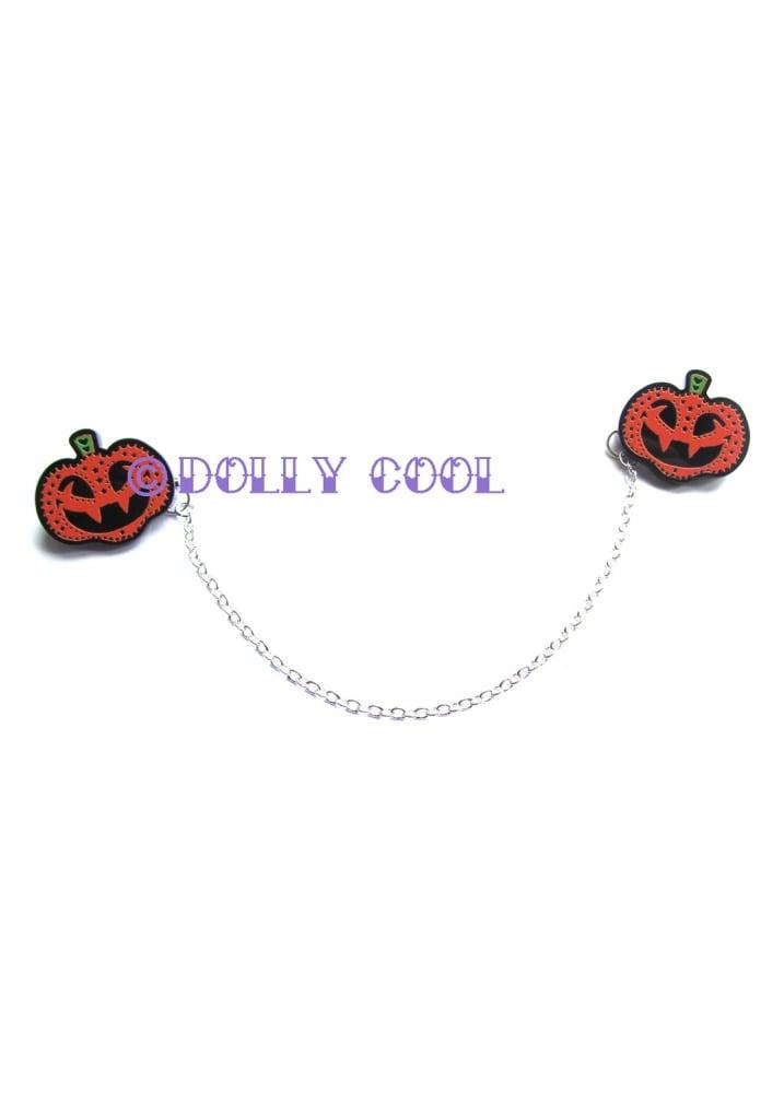 Halloween Pumpkin Collar Clips - Colour: Orange