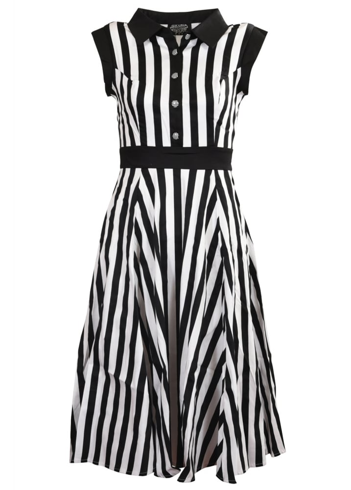 Black & White Striped Tea Dress - Size: Size 10