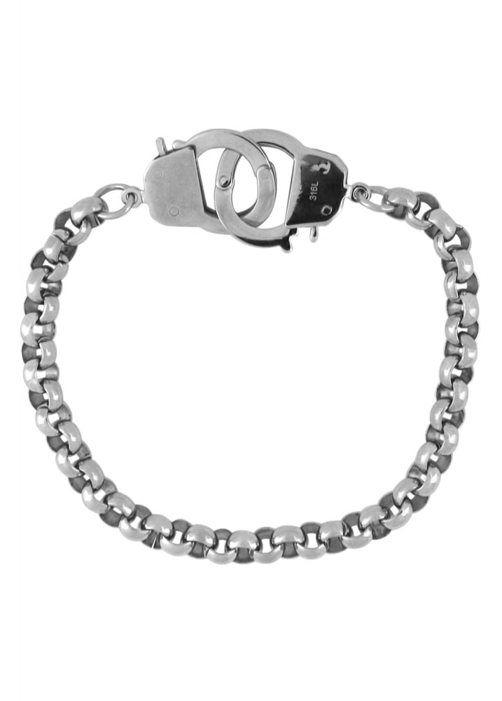 Stainless Steel Handcuffs Bracelet - Colour: Silver