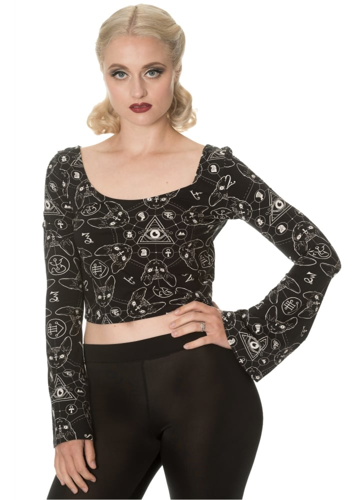 9 Lives Flare Sleeve Top - Size: L