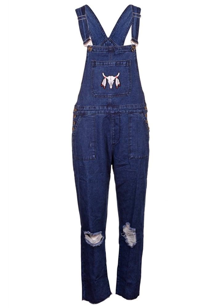 Embroidery Patch Denim Dungarees - Size: Size 10