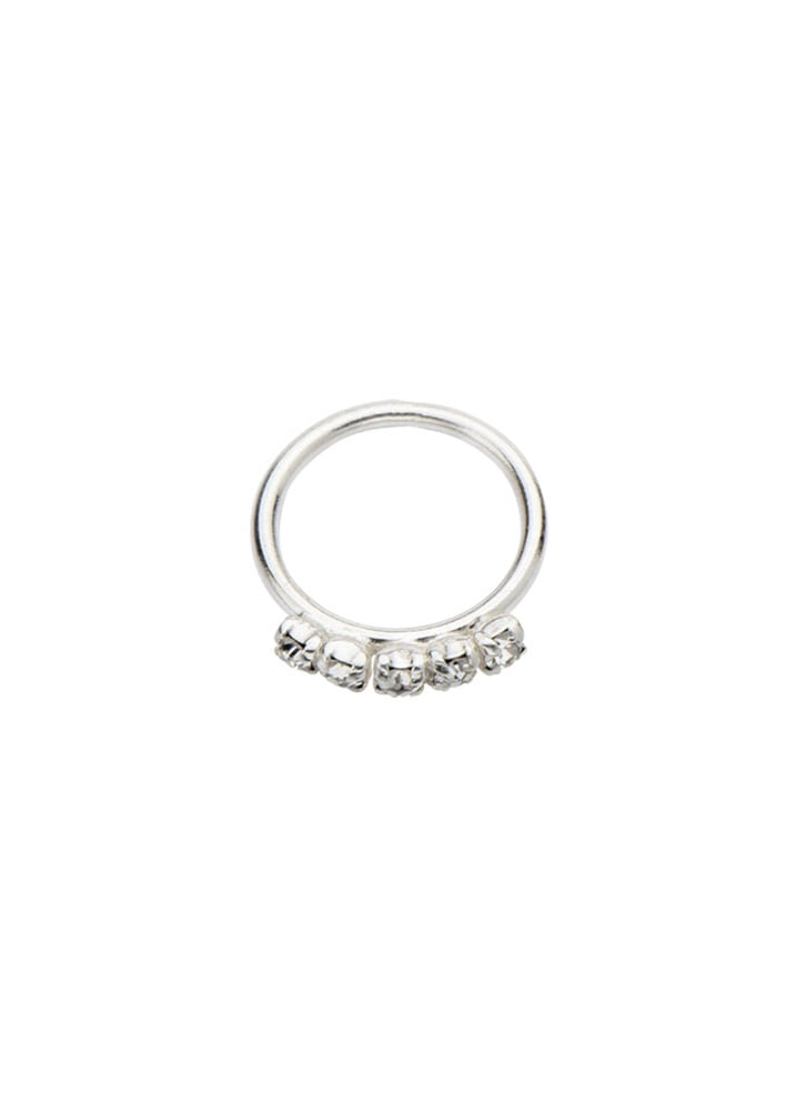 5 Gem Sterling Silver Split Ring - Size: 1mm x 8mm