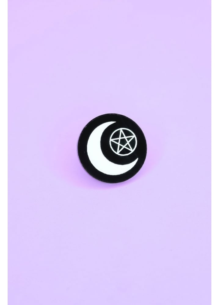 Moon Witch Pin - Colour: Black