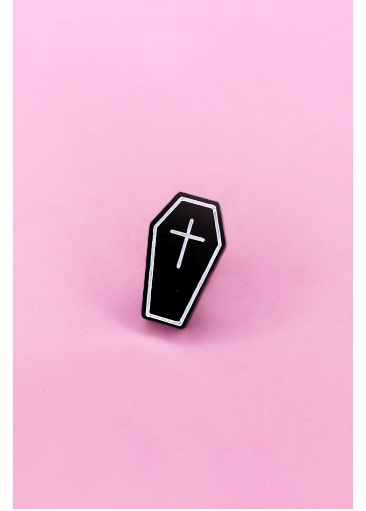 Coffin Pin - Colour: Black