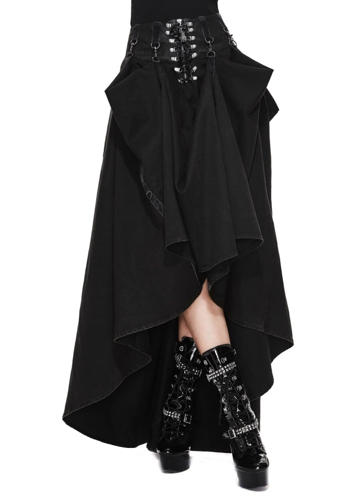 Adjustable Length High Waisted Gothic Skirt - Size: 3XL