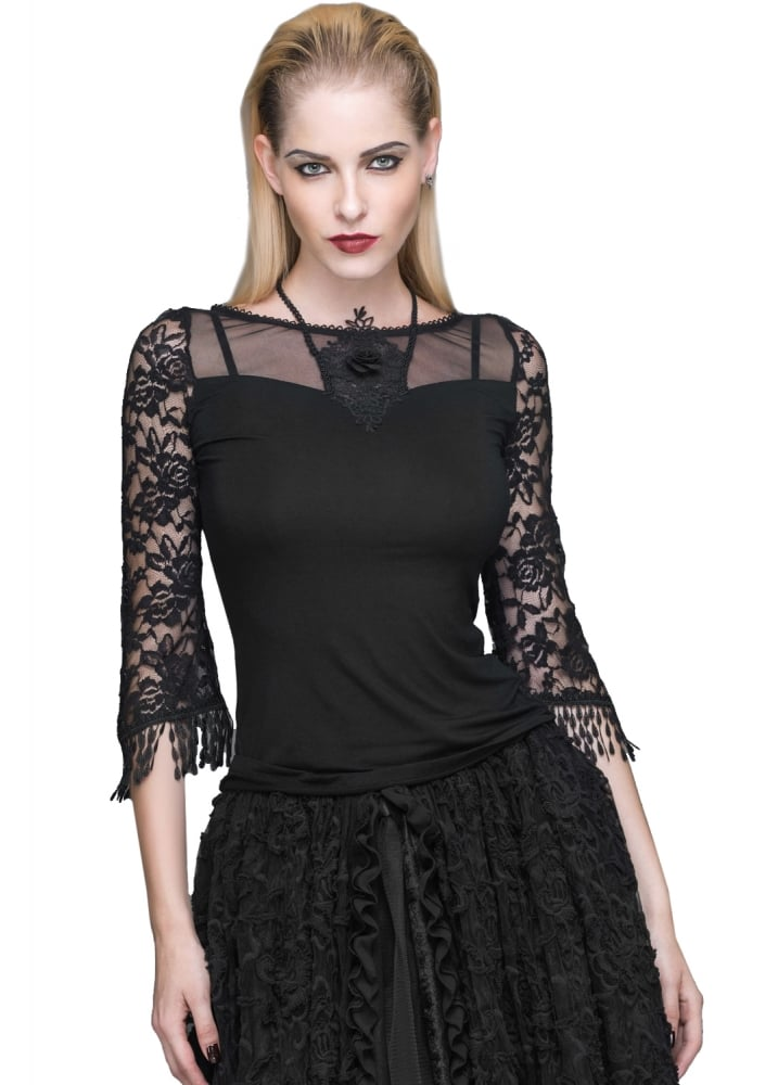 Black Rose 3/4 Sleeve Top - Size: L