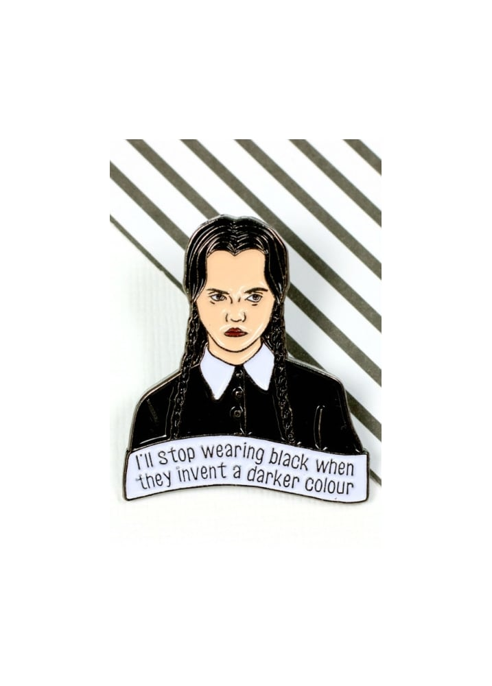 Wednesday Addams Pin Badge - Colour: Black