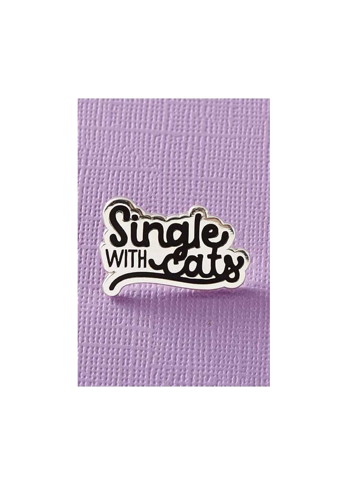 Single With Cats Enamel Pin Badge - Colour: Silver