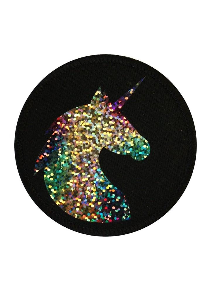 Holographic Unicorn Patch - Colour: Black