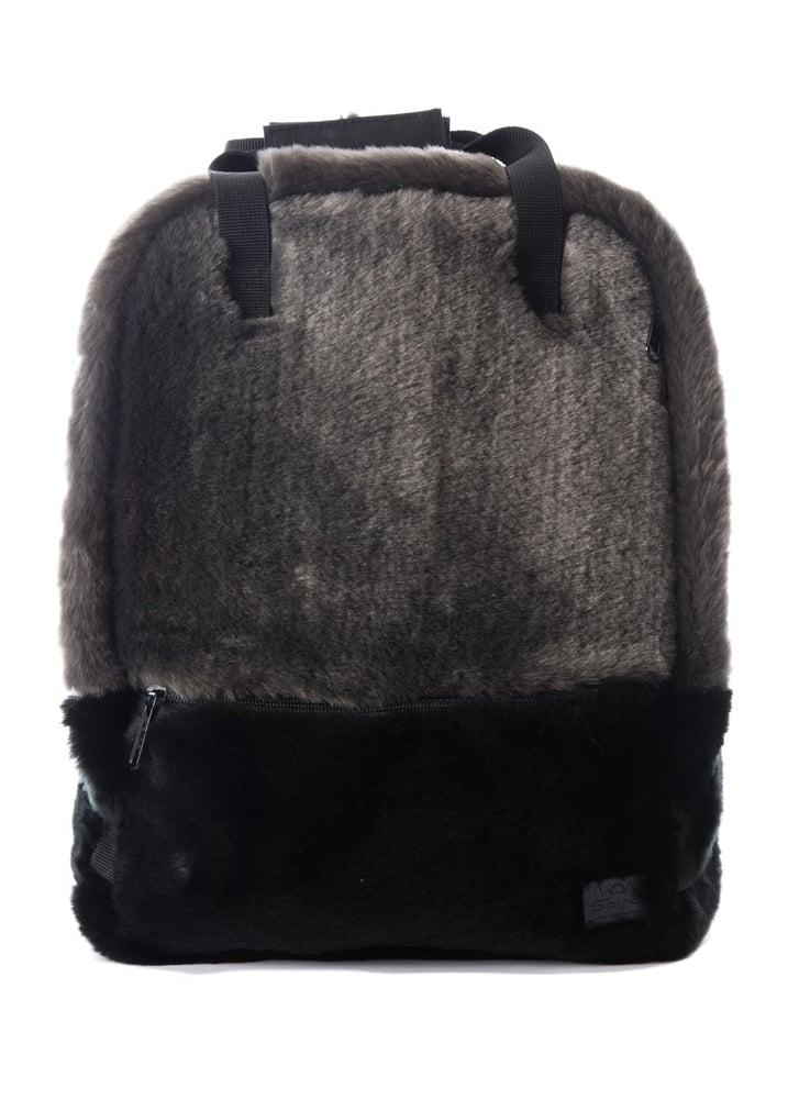 Black Faux Fur Backpack - Colour: Black