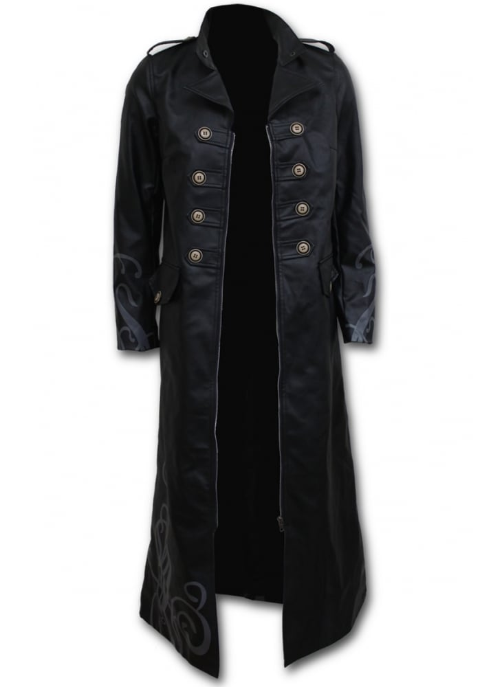 Vampires Kiss Gothic Faux Leather Trench Coat  Size Size 68
