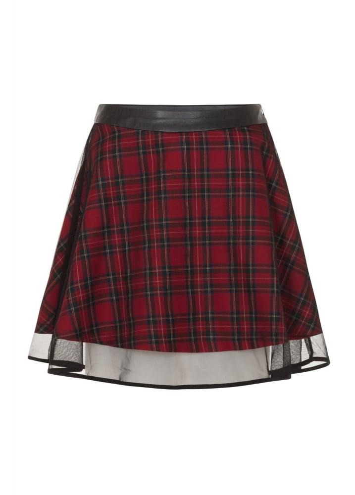 Tartan Two Layer Mesh Skirt  Size Size 12