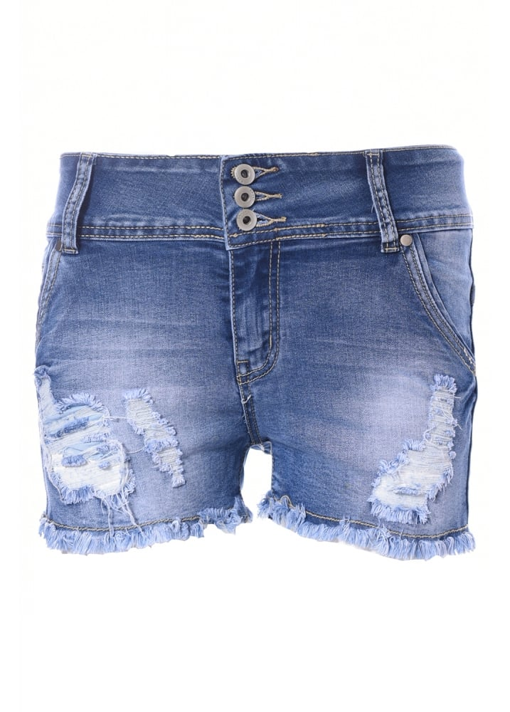Blue Wash Ripped Shorts  Size L