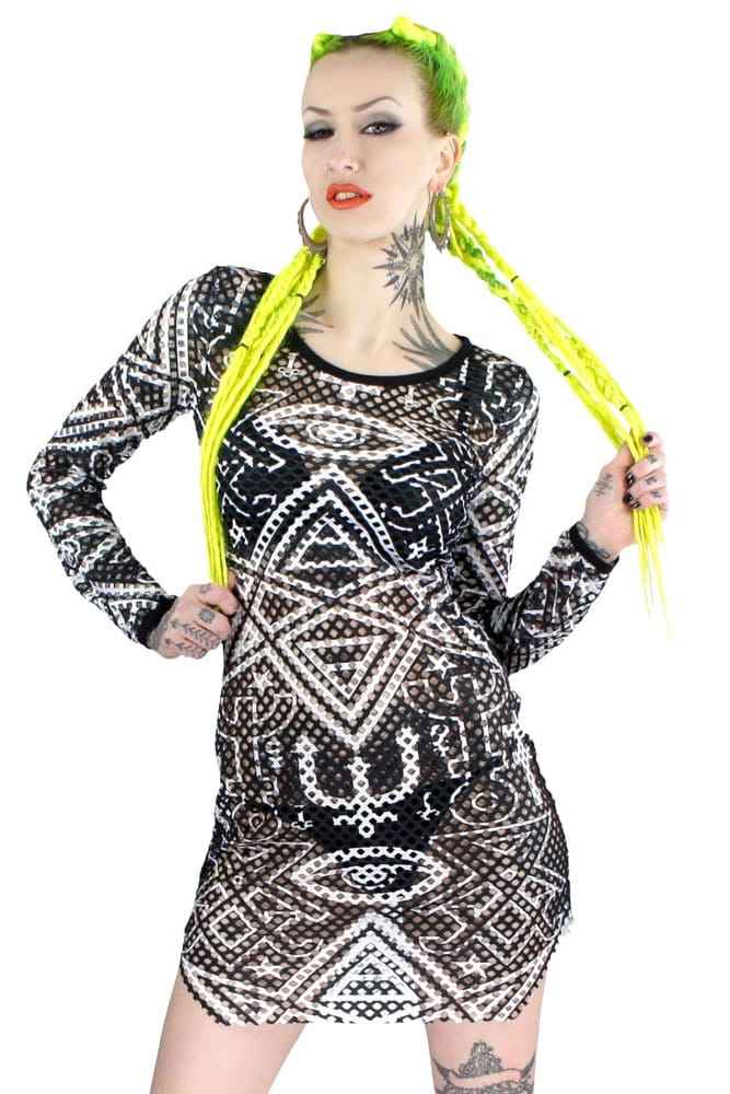 Kill Star Thelema fishnet body con dress.