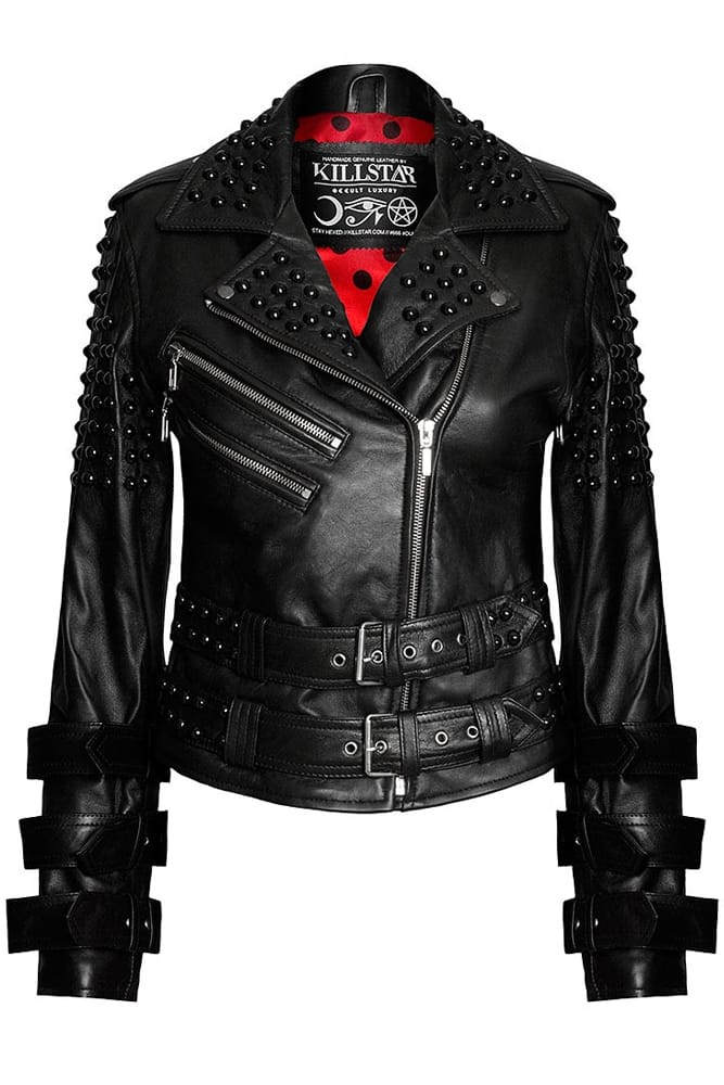 Kill Star gothic leather jacket with studs, spikes and buckles.
