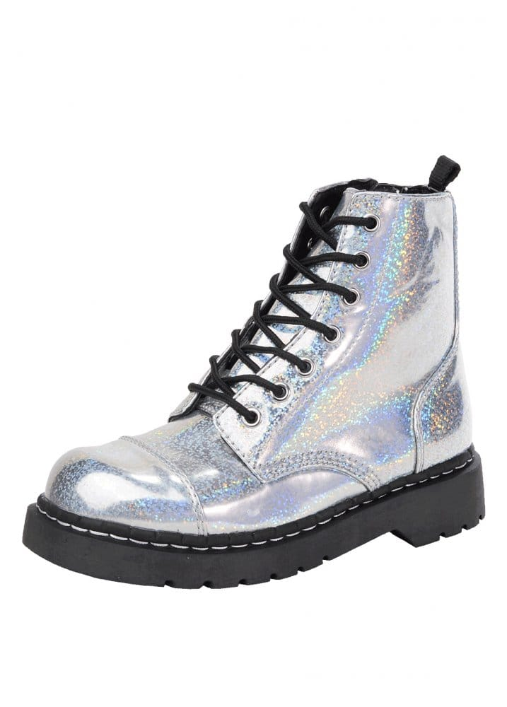 TUK SHOES ANARCHIC 7 EYE SILVER PATENT COMBAT BOOT
