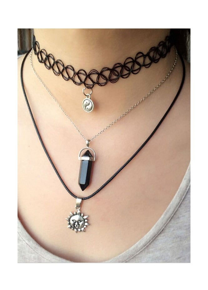 3 Layer Charm Choker Necklace