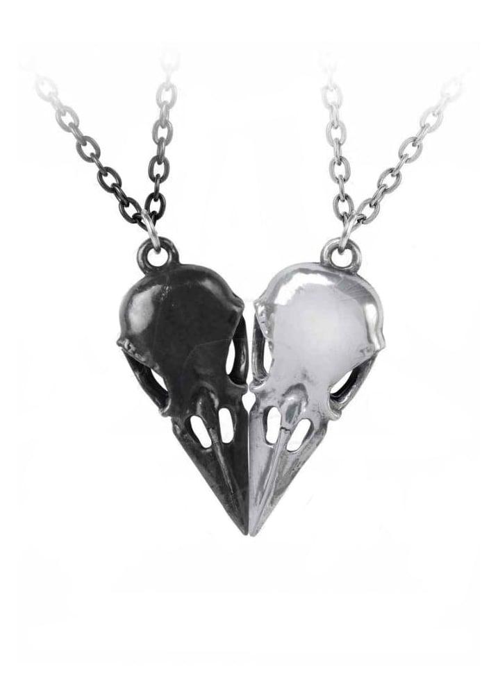 Alchemy Gothic Coeur Crane Friendship Necklace Attitude