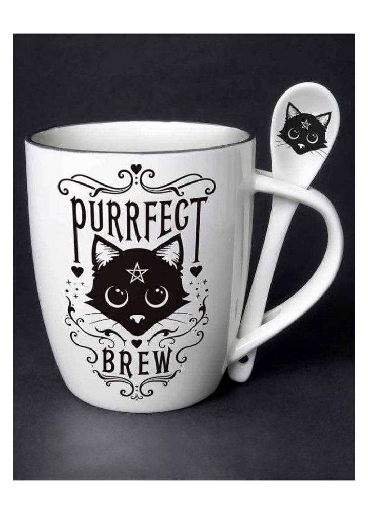 ALCHEMY ENGLAND Gothic Cat Fine Bone China TEA SPOON REST Purrfect Brew