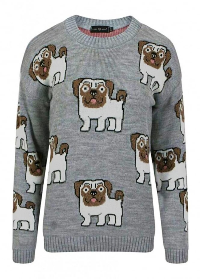 Attitude Clothing Allover Pugs Knitted Jumper