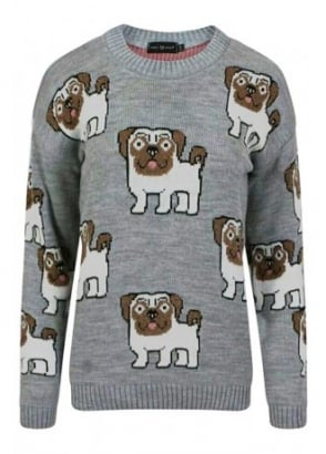 Allover Pugs Knitted Jumper