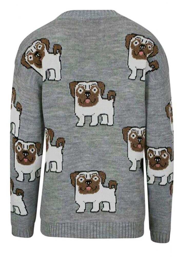 Knitting Pattern For Pug Jumper : Allover Pugs Knitted Jumper Attitude Clothing