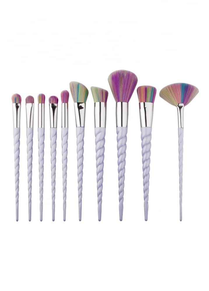 10 Piece Unicorn Horn Make Up Brush Set