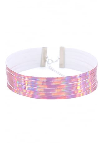 Attitude Clothing 6 Layer Pink Holographic Choker